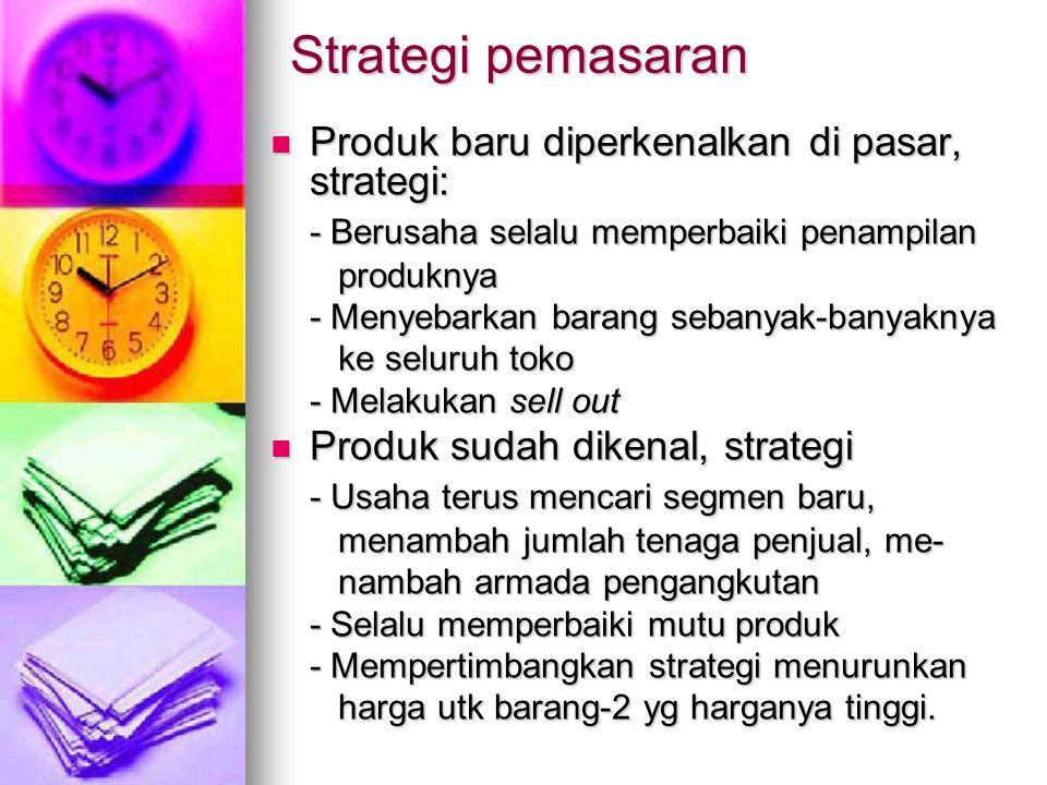 Strategi pemasaran Produk baru diperkenalkan di pasar, strategi: