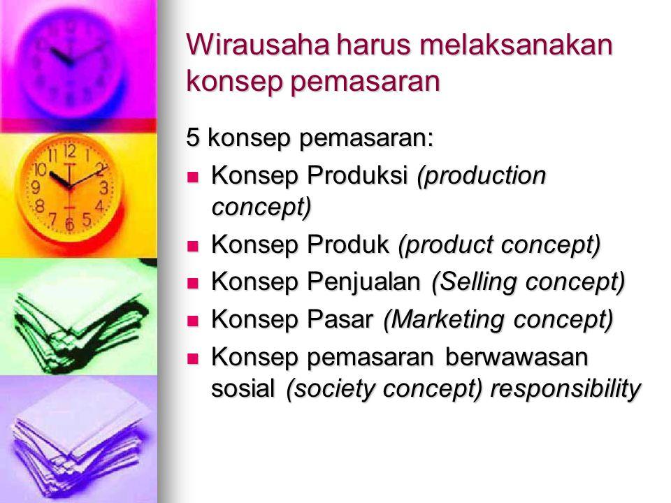 Wirausaha harus melaksanakan konsep pemasaran