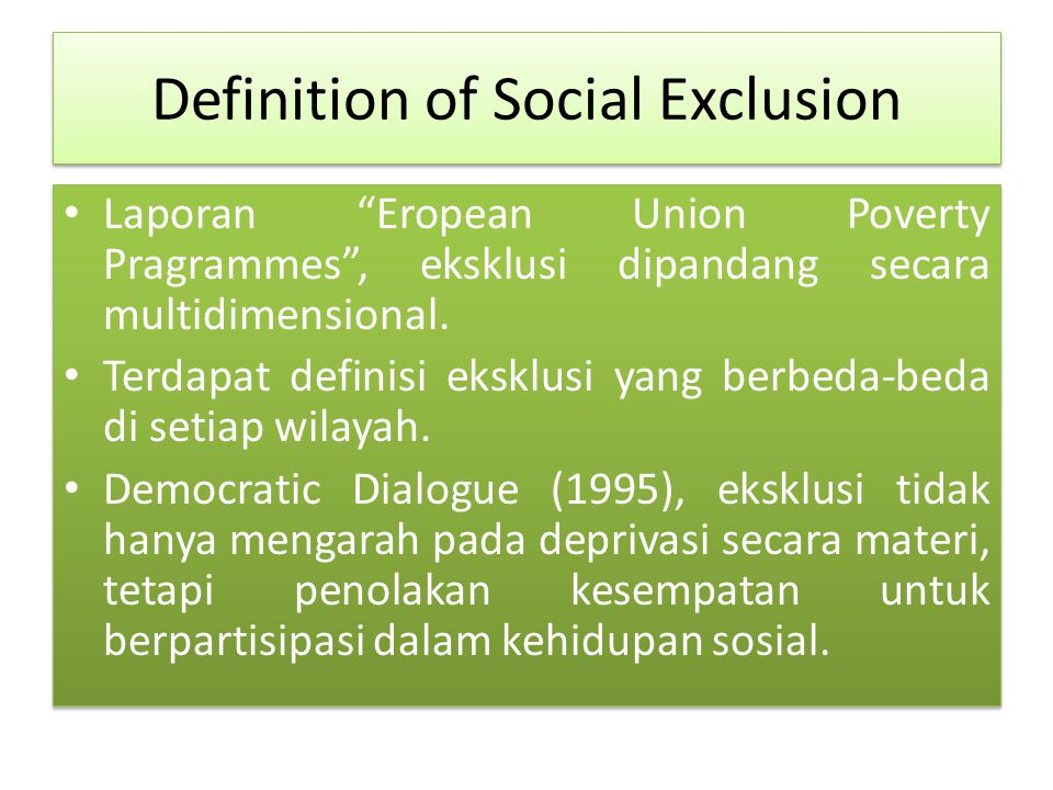 Definition of Social Exclusion