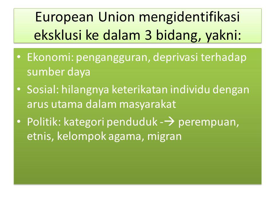 European Union mengidentifikasi eksklusi ke dalam 3 bidang, yakni:
