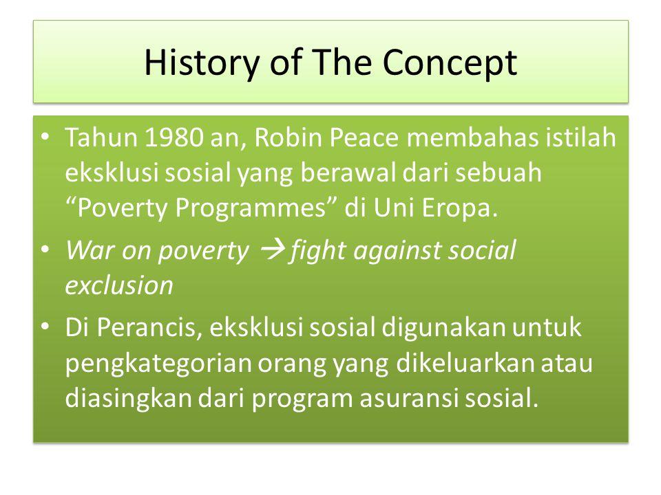 History of The Concept Tahun 1980 an, Robin Peace membahas istilah eksklusi sosial yang berawal dari sebuah Poverty Programmes di Uni Eropa.