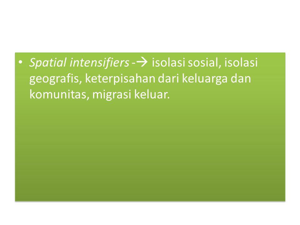 Spatial intensifiers - isolasi sosial, isolasi geografis, keterpisahan dari keluarga dan komunitas, migrasi keluar.