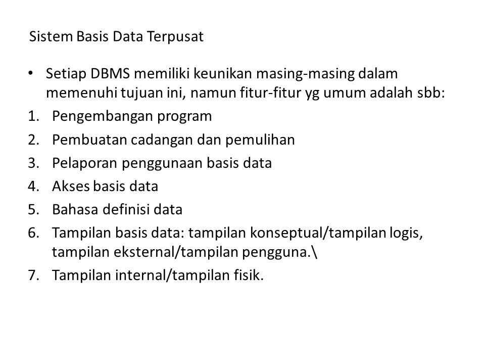 Sistem Basis Data Terpusat