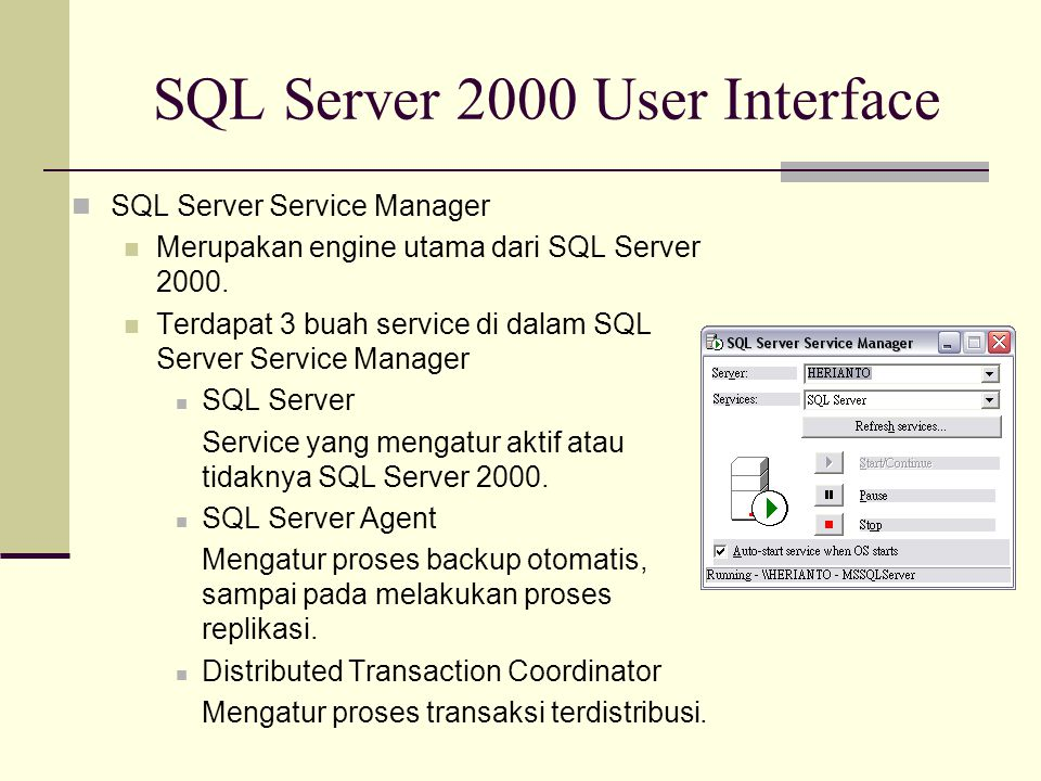 SQL Server 2000 User Interface