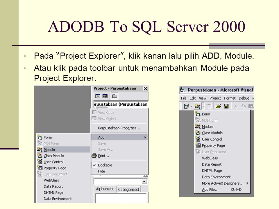 ADODB To SQL Server 2000 Pada Project Explorer , klik kanan lalu pilih ADD, Module.