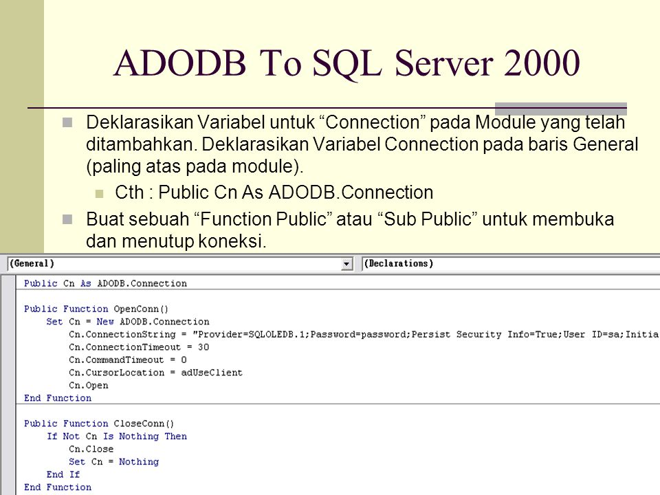 ADODB To SQL Server 2000