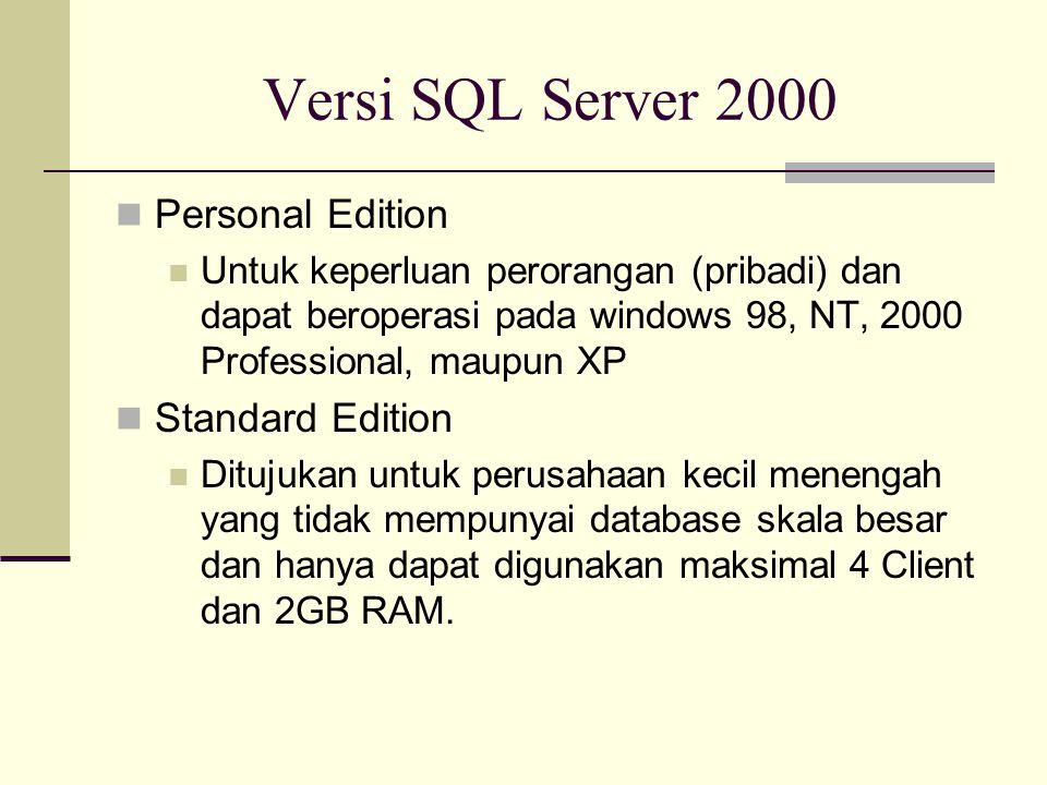 Versi SQL Server 2000 Personal Edition Standard Edition