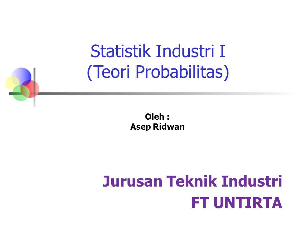 Statistik Industri I (Teori Probabilitas) Jurusan Teknik Industri