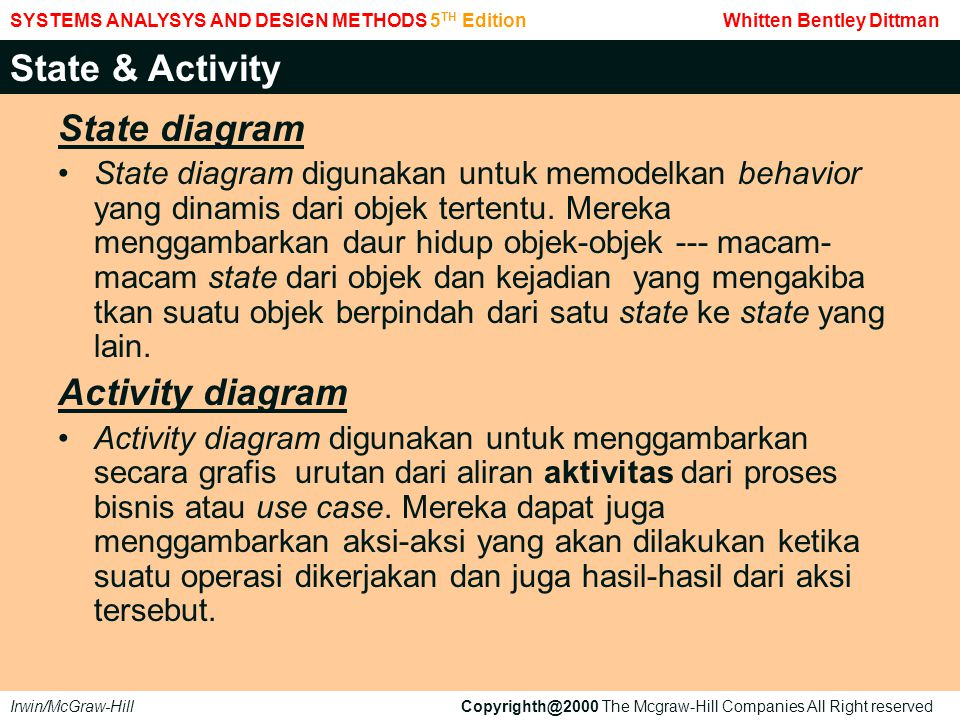 State & Activity State diagram Activity diagram