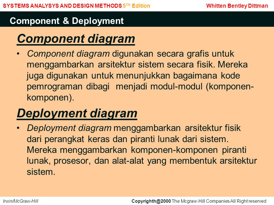 Component diagram Deployment diagram Component & Deployment