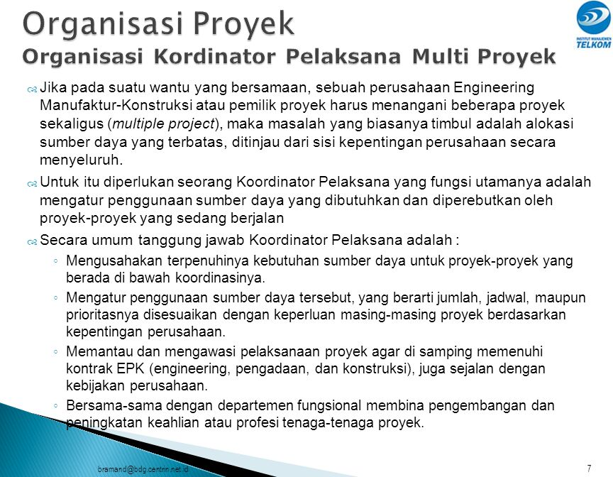 Organisasi Proyek Organisasi Kordinator Pelaksana Multi Proyek