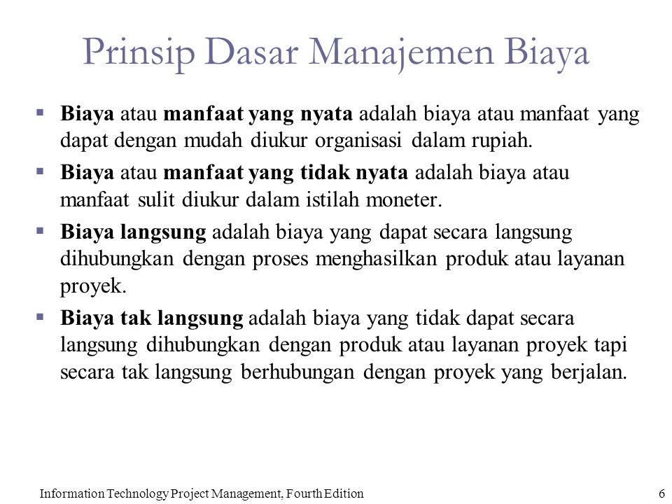 Prinsip Dasar Manajemen Biaya