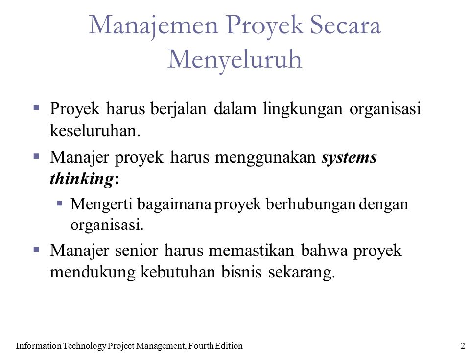 Manajemen Proyek Secara Menyeluruh
