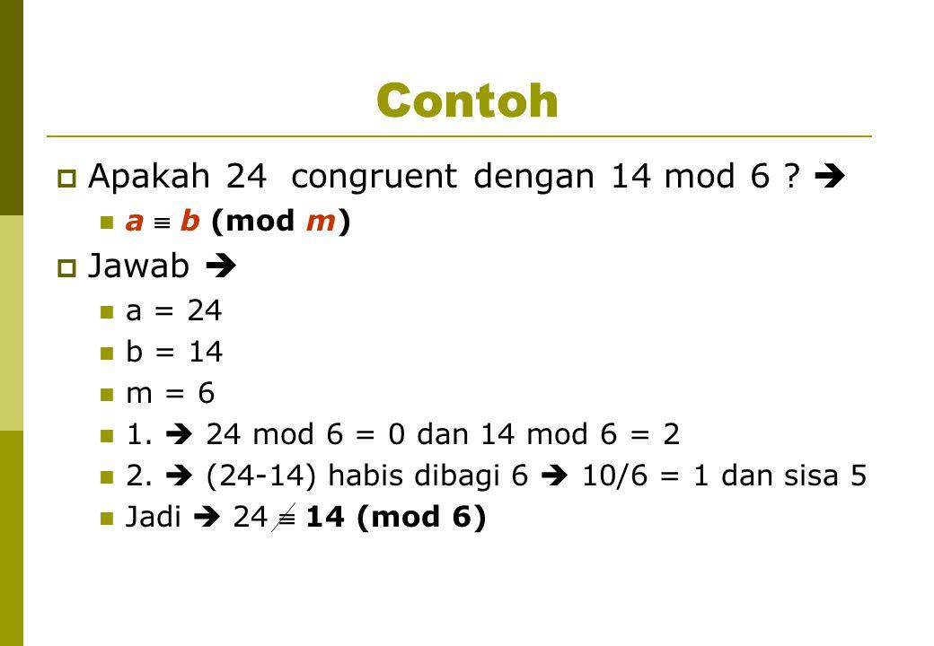 Contoh Apakah 24 congruent dengan 14 mod 6  Jawab  a  b (mod m)