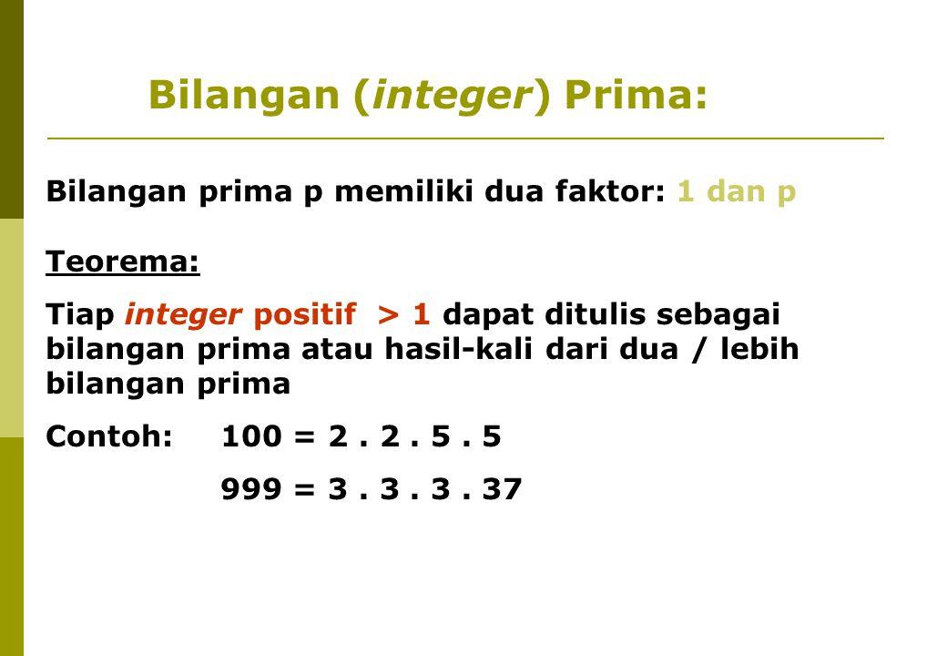Bilangan (integer) Prima: