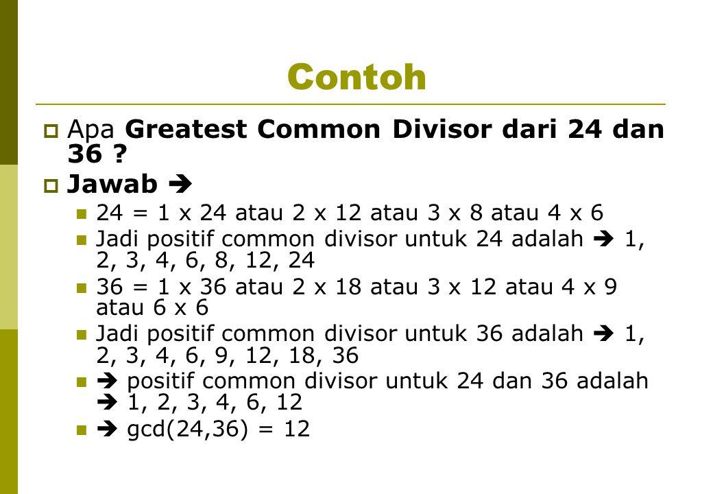 Contoh Apa Greatest Common Divisor dari 24 dan 36 Jawab 