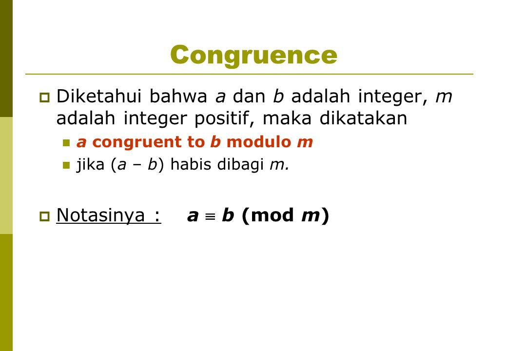 Congruence Diketahui bahwa a dan b adalah integer, m adalah integer positif, maka dikatakan. a congruent to b modulo m.