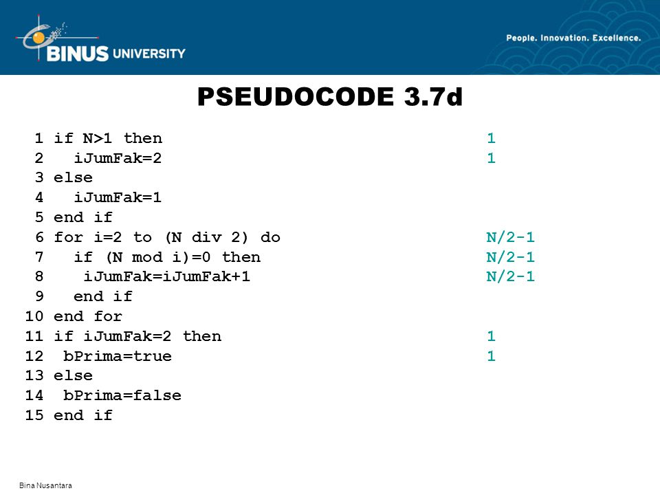 PSEUDOCODE 3.7d 1 if N>1 then 1 2 iJumFak=2 1 3 else 4 iJumFak=1