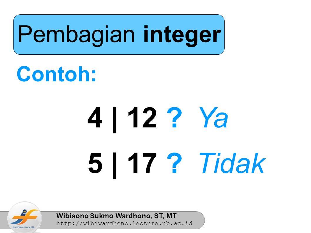 Pembagian integer Contoh: 4 | 12 Ya 5 | 17 Tidak 4