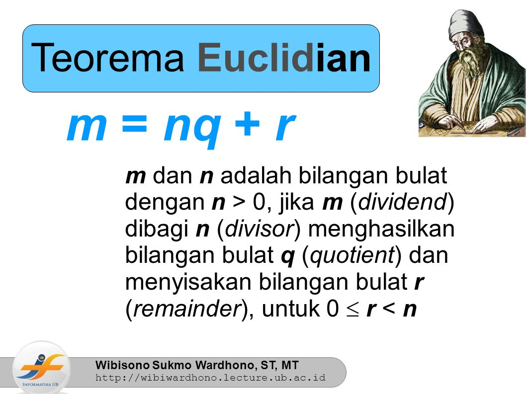 m = nq + r Teorema Euclidian m dan n adalah bilangan bulat