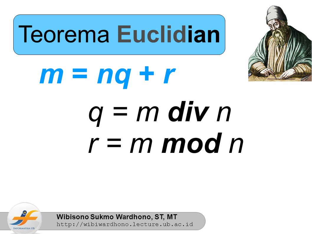 Teorema Euclidian m = nq + r q = m div n r = m mod n 6