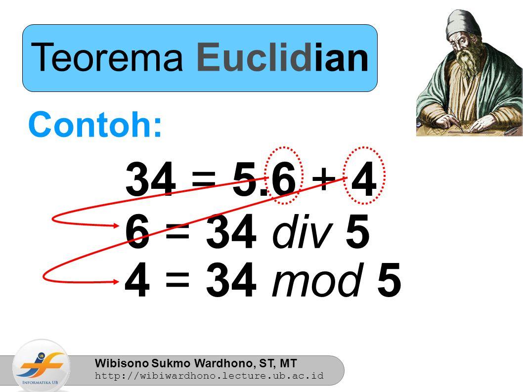 Teorema Euclidian Contoh: 34 = 5.6 + 4 6 = 34 div 5 4 = 34 mod 5 7