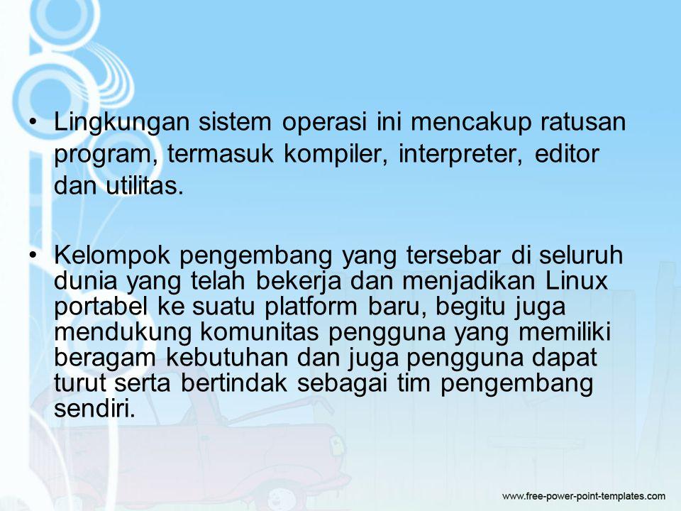Lingkungan sistem operasi ini mencakup ratusan program, termasuk kompiler, interpreter, editor dan utilitas.