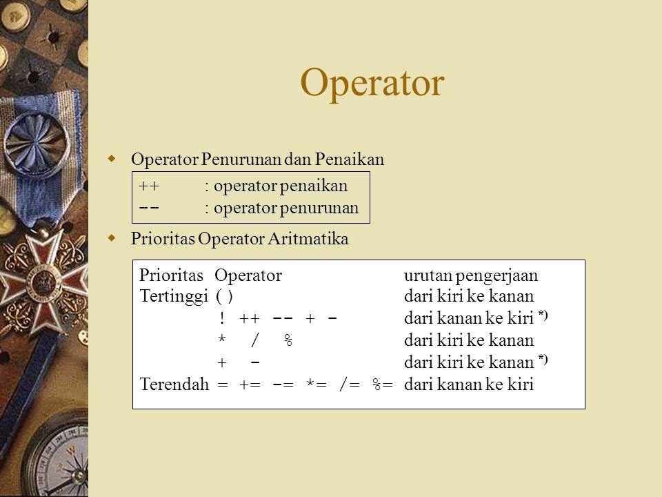 Operator Operator Penurunan dan Penaikan ++ : operator penaikan