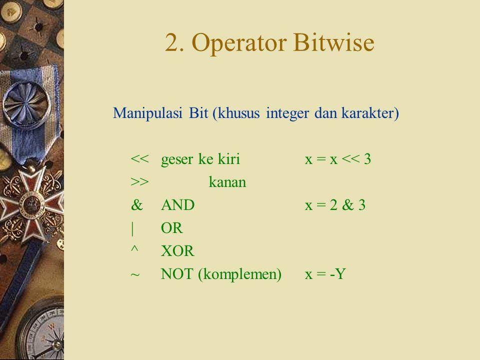 2. Operator Bitwise Manipulasi Bit (khusus integer dan karakter)