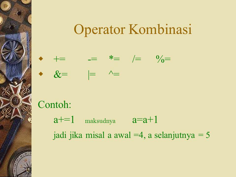 Operator Kombinasi += -= *= /= %= &= |= ^= Contoh: