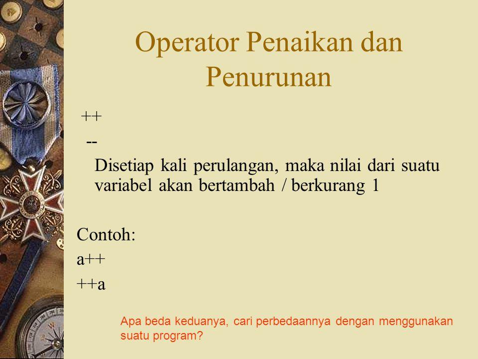 Operator Penaikan dan Penurunan