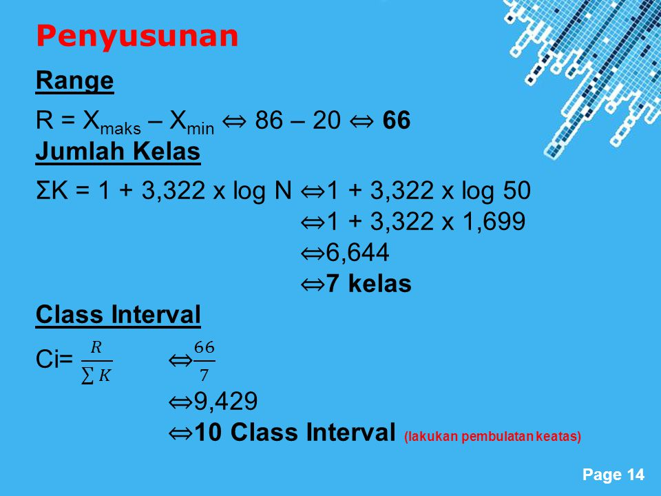 Penyusunan Range R = Xmaks – Xmin ⇔ 86 – 20 ⇔ 66 Jumlah Kelas