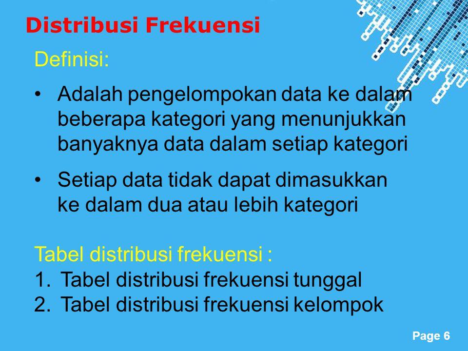 Distribusi Frekuensi Definisi: Adalah pengelompokan data ke dalam beberapa kategori yang menunjukkan banyaknya data dalam setiap kategori.