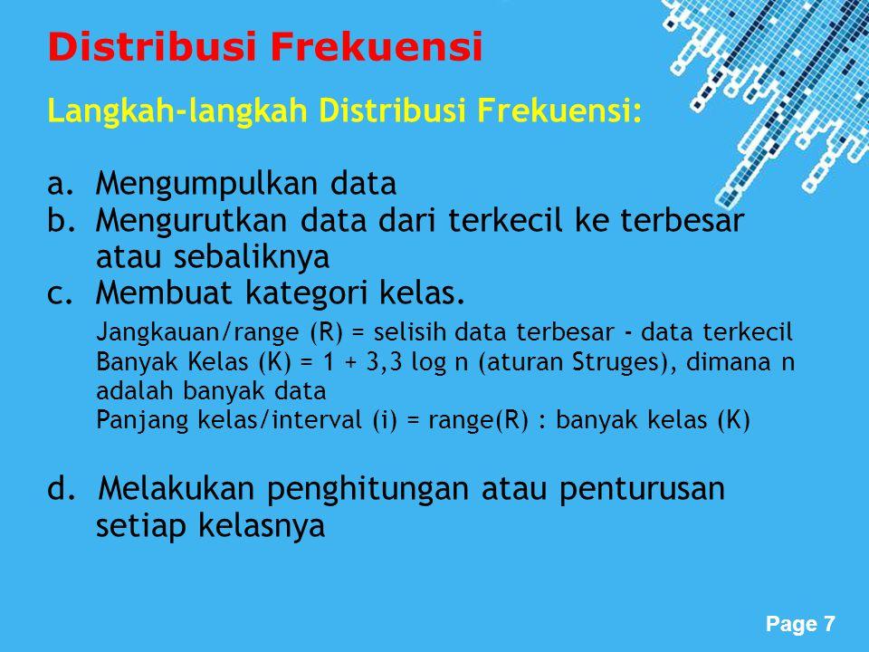 Distribusi Frekuensi Langkah-langkah Distribusi Frekuensi: