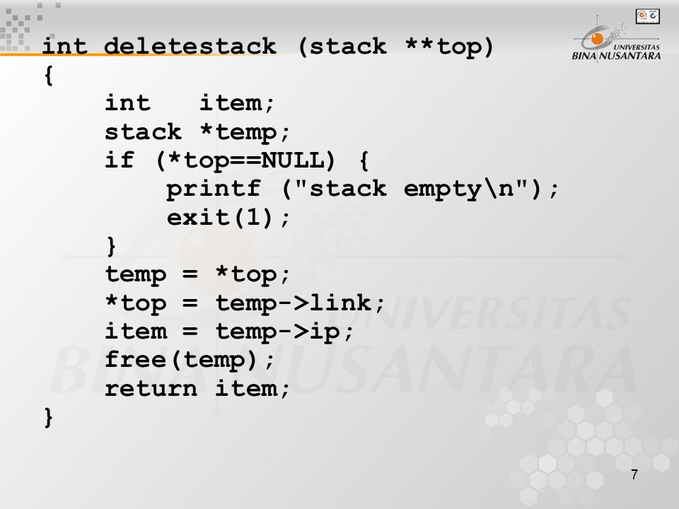 int deletestack (stack **top)