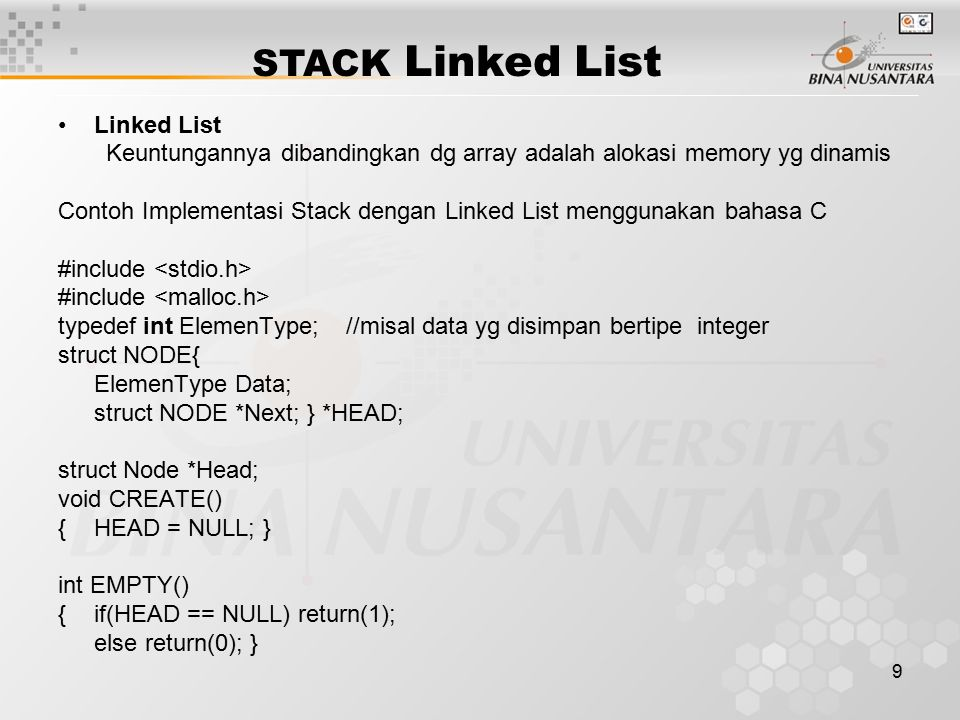 STACK Linked List Linked List