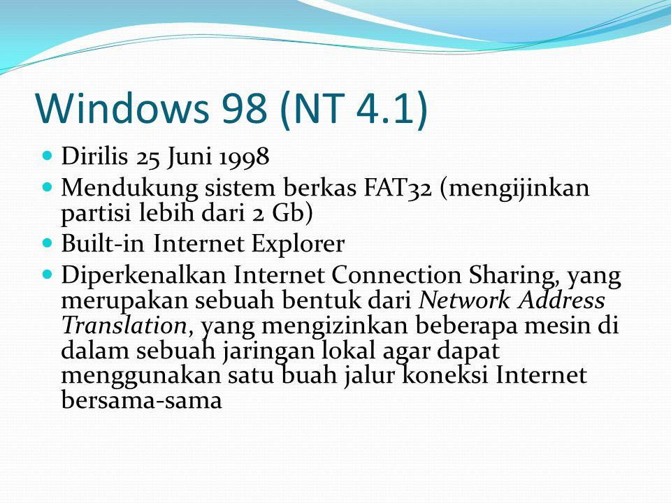 Windows 98 (NT 4.1) Dirilis 25 Juni 1998