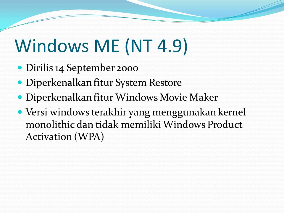 Windows ME (NT 4.9) Dirilis 14 September 2000