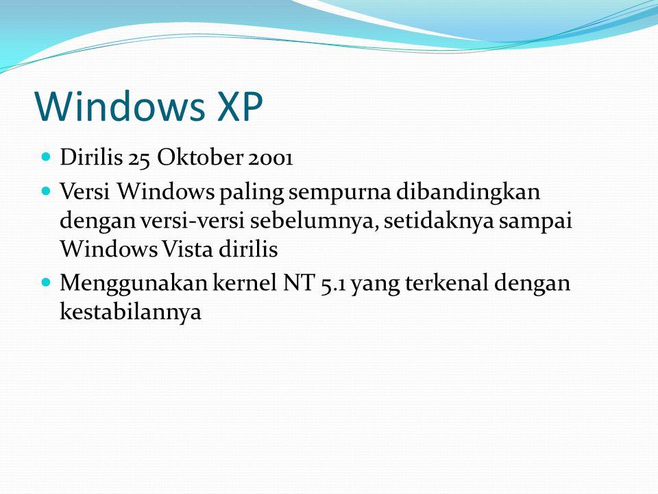 Windows XP Dirilis 25 Oktober 2001