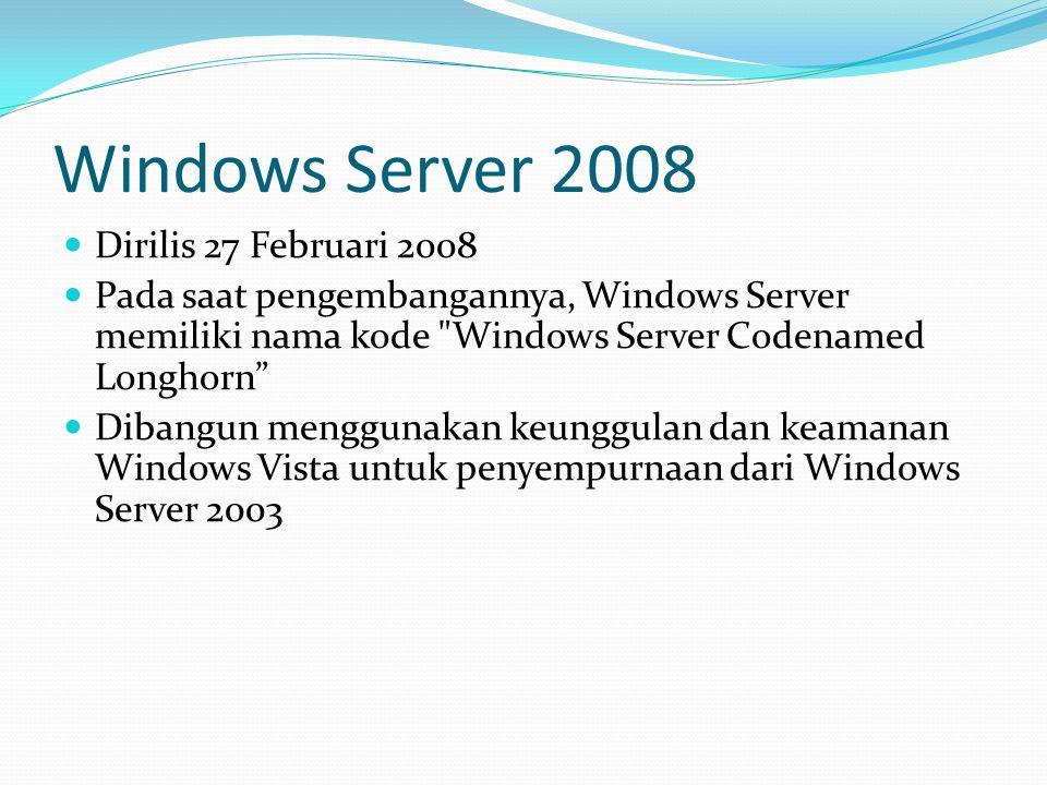 Windows Server 2008 Dirilis 27 Februari 2008