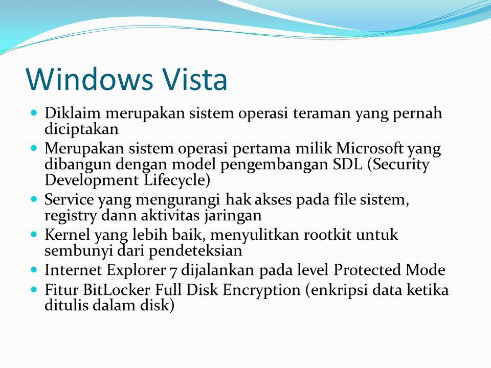 Windows Vista Diklaim merupakan sistem operasi teraman yang pernah diciptakan.