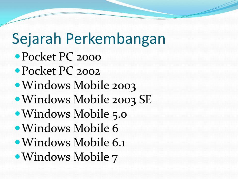 Sejarah Perkembangan Pocket PC 2000 Pocket PC 2002 Windows Mobile 2003