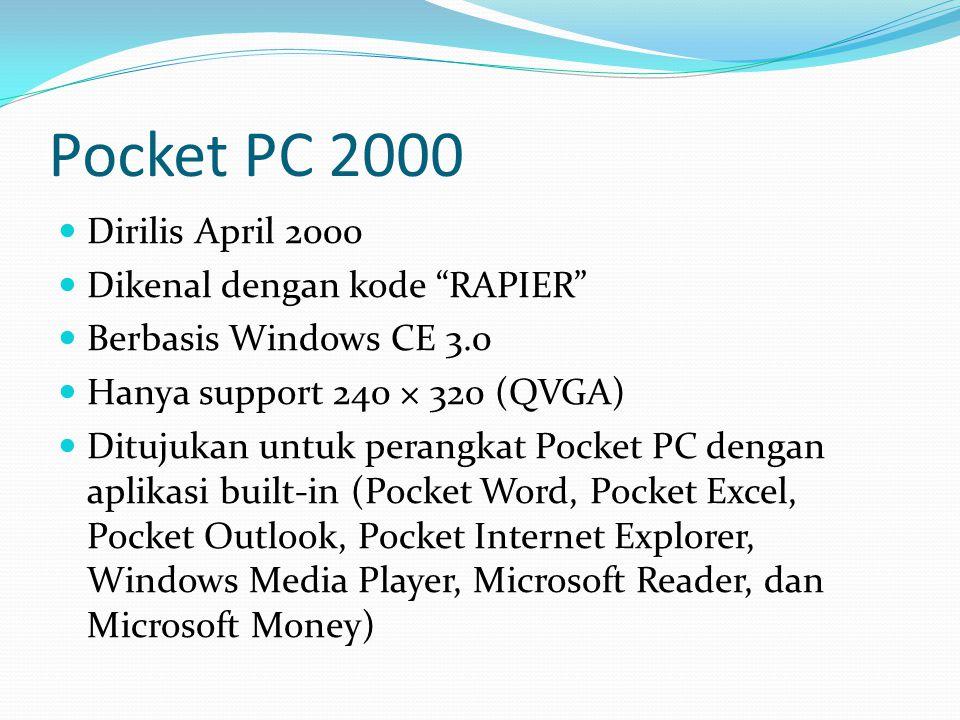 Pocket PC 2000 Dirilis April 2000 Dikenal dengan kode RAPIER