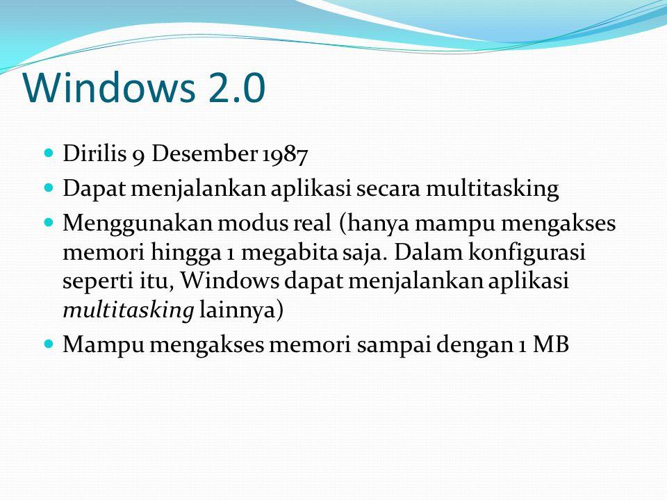 Windows 2.0 Dirilis 9 Desember 1987
