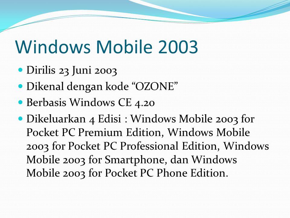 Windows Mobile 2003 Dirilis 23 Juni 2003 Dikenal dengan kode OZONE