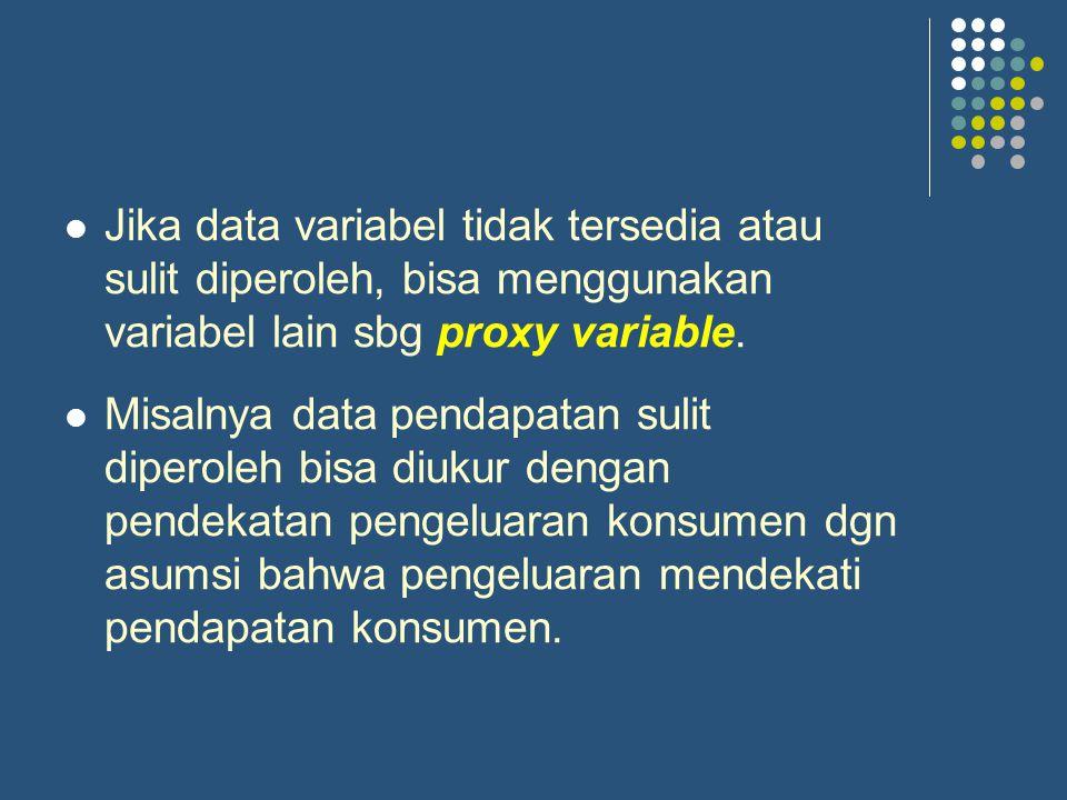Jika data variabel tidak tersedia atau sulit diperoleh, bisa menggunakan variabel lain sbg proxy variable.