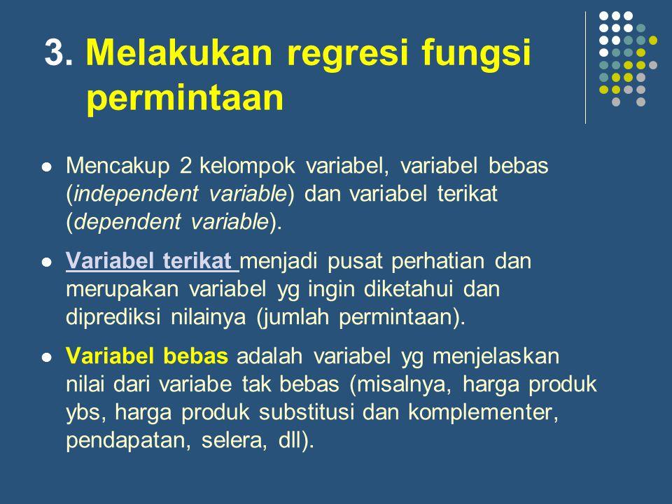 3. Melakukan regresi fungsi permintaan