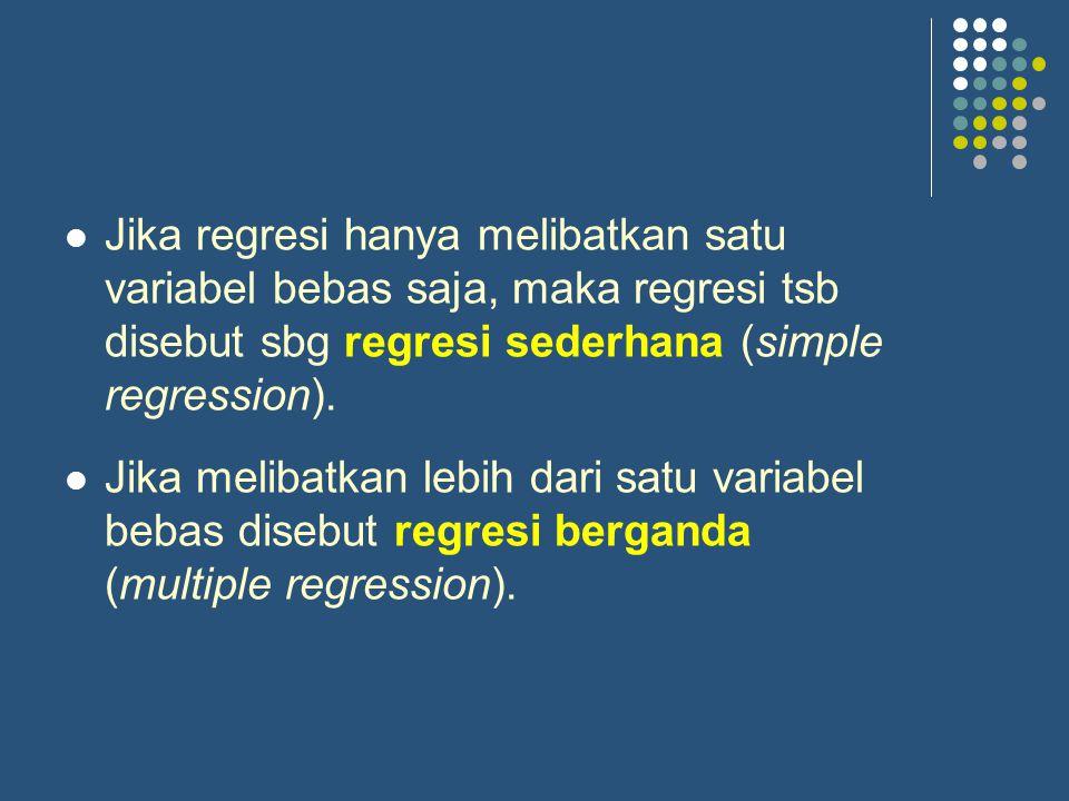 Jika regresi hanya melibatkan satu variabel bebas saja, maka regresi tsb disebut sbg regresi sederhana (simple regression).