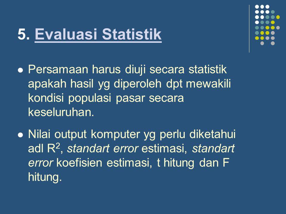 5. Evaluasi Statistik Persamaan harus diuji secara statistik apakah hasil yg diperoleh dpt mewakili kondisi populasi pasar secara keseluruhan.