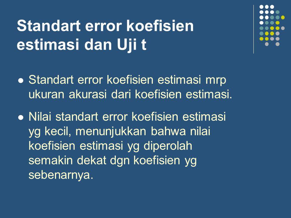 Standart error koefisien estimasi dan Uji t